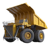 Very big yellow dump-body truck on white. 3D illustration Royalty Free Stock Images
