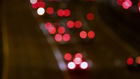 Very blurred night traffic scene stock video footage