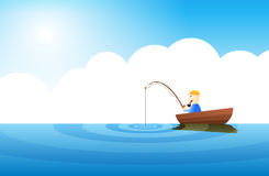 Very Boring Fishing. Guy fishing in the middle of a very calm ocean Stock Image