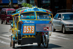Very Bright and Colorful Tricycle of A Filipino. In Dumaguete Stock Image