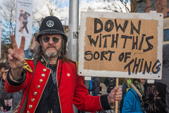 A very British protest. A protestor takes to the streets of Bristol in a very British protest against Donald Trump Stock Photo