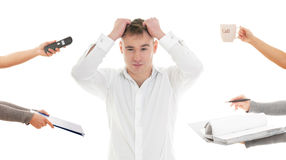 Very busy businessman. Stressed man tired of busy work Royalty Free Stock Images
