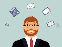 Very busy courageous accountant with many thoughts about work royalty free illustration