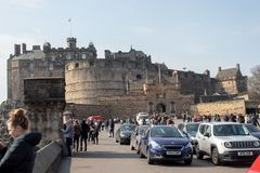 A very busy entrance to Edinburgh castle stock images