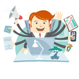 Very busy office man working hard by eight hands Stock Photos