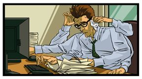 Very busy office worker. All elements layered black line drained stock illustration