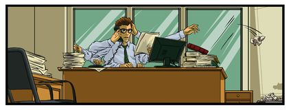 Very busy office worker. Color vector illustration.All elements layered black line drained stock illustration