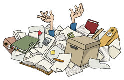 Very busy with pile of paper works stock illustration
