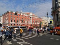 Very busy Saint Petersburg street at center city stock photo