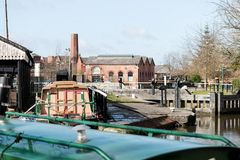 Busy Canal. A very busy time down at the dry dock area at Wigan Pier Stock Photos