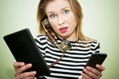 Very busy woman Royalty Free Stock Photo