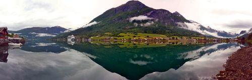 Very calm lake in Norway. Very calm, reflective lake in Norway Fjords, Olden Royalty Free Stock Photo
