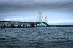 Scenic Mackinac Bridge shot from Old Mackinac Point during the fall stock photos