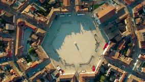 Very center of Palmanova town Italy. Aerial time lapse of the very center of Palmanova town stock footage