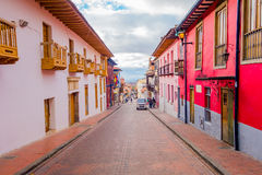 Very charming colorful street with spanish Royalty Free Stock Photo