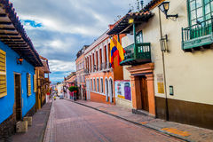 Very charming street in old part of Bogota with Royalty Free Stock Photography