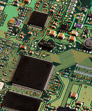 Very Clean Electronic Circuit Board. A general closeup of a green electronic circuit board Stock Photo