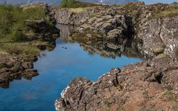 Very clear blue water in Thingvellir National Park, Iceland royalty free stock photo