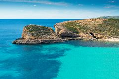 Very clear water at malta blue lagoon. Sunny day at blue lagoon malta gozo island paradise Royalty Free Stock Photos