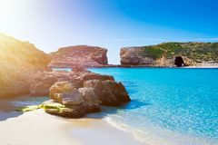 Very clear water at malta blue lagoon. Sunny day at blue lagoon malta gozo island paradise royalty free stock image