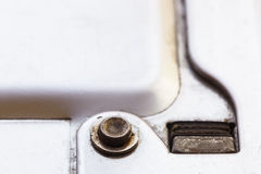 Very close photographed part of the staple gun. Royalty Free Stock Image