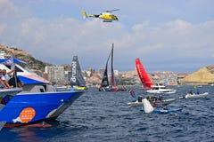 Helicopter Overhead Volvo Ocean Race Alicante 2017 stock photo