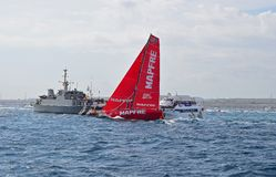 Mapfre And a Warship Volvo Ocean Race Alicante 2017 Royalty Free Stock Image