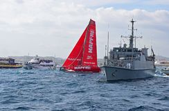 Team Mapfre Very Close Between Spectator Boats Volvo Ocean Race Alicante 2017 Royalty Free Stock Photos