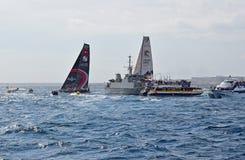 Very Close Racing Between Spectator Boats Volvo Ocean Race Alicante 2017 Stock Photos