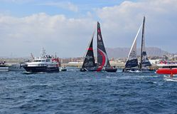 Sailing Close Between Spectator Boats Volvo Ocean Race Alicante 2017 Royalty Free Stock Photo