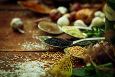 Very close to spices and herbs Royalty Free Stock Photos