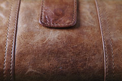 Very close up of brown leater purse Stock Photos