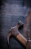 Very close up old rusted hammer and spattle Royalty Free Stock Photography