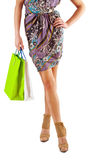 Very close up view on beautiful female body  with paperbags in h Royalty Free Stock Photography