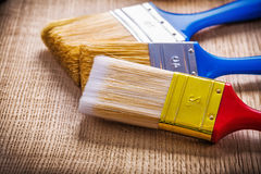 Very close up view bristles of paint brushes on Stock Photography