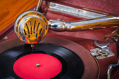 Very close up view on gramophone stock image