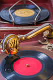Very close up view on gramophone royalty free stock photo