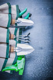 Very close up view on handbag with garden tools Stock Images