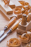 Very close up view joinery tools old fashioned Royalty Free Stock Photography