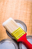 Very close up view on paint brush with red handle Stock Photography