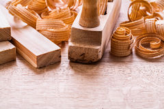Very close up view planks woodworkers plane Royalty Free Stock Images