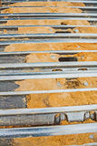 Very close up view on tracks of exkavator Royalty Free Stock Image