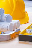Very close up on white blueprints construction Royalty Free Stock Image