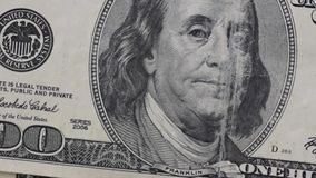 Very close video of American currency stock footage