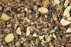 Close view cocoa honey peanut granola bar Royalty Free Stock Photo