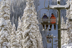 Very cold chairlift Stock Photos