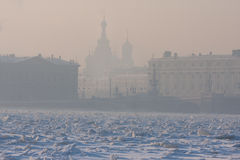 Very cold day in the city with a view of the frozen Neva Royalty Free Stock Photos