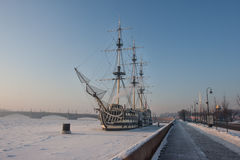 Very cold day in the city with a view of the frozen Neva Royalty Free Stock Image