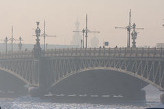 Very cold day in the city with a view of the frozen Neva Royalty Free Stock Photo