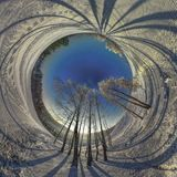 A Very Cold Winter Morning. Fisheye winter planet. Skiing trase Stock Photo